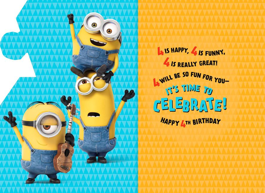 Despicable Me Minions 4th Birthday Sound Card Greeting Cards