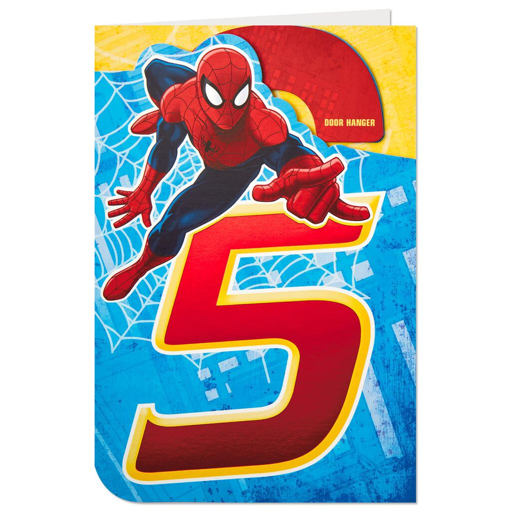 Marvel Spider Man 5th Birthday Card With Door Hanger
