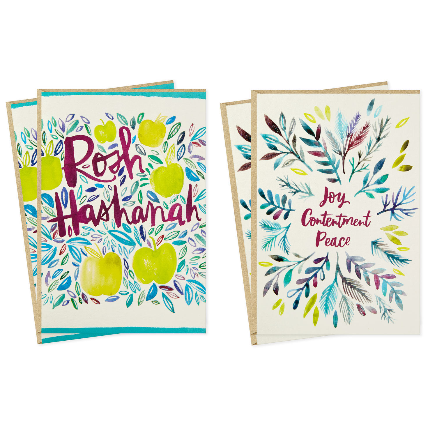 picture relating to Rosh Hashanah Greeting Cards Printable named Apples and Leaves Rosh Hashanah Playing cards, Pack of 6