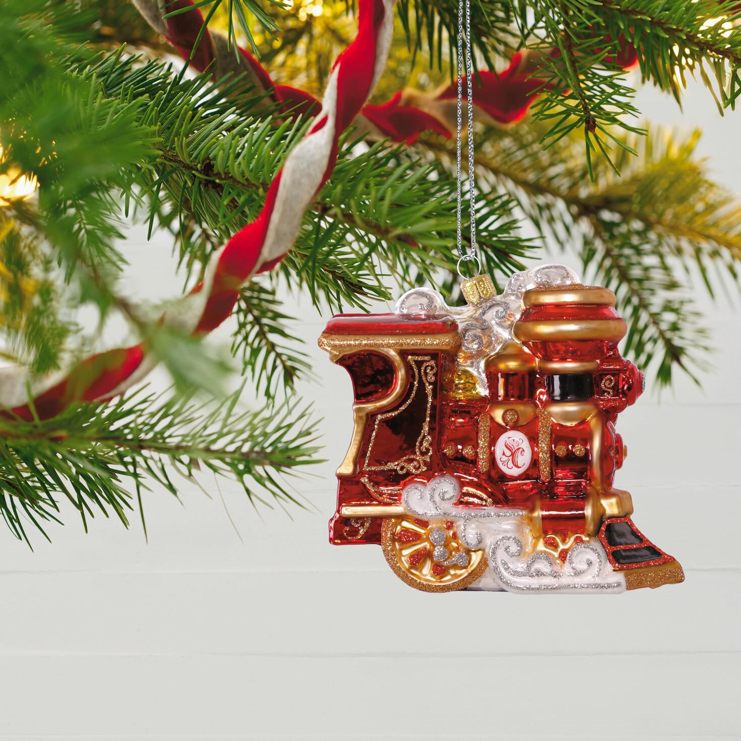 Train Elegant Engine Premium Glass Ornament - Keepsake Ornaments ...