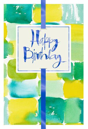 Green and Yellow Watercolor With Foil Birthday Card