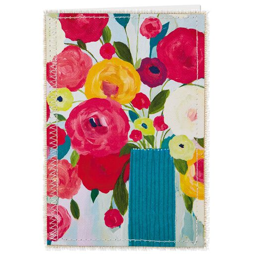 Flowers On Canvas French Language Birthday Card For Friend