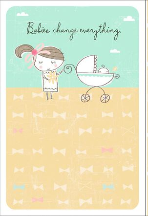Bows and Buggy New Baby Card