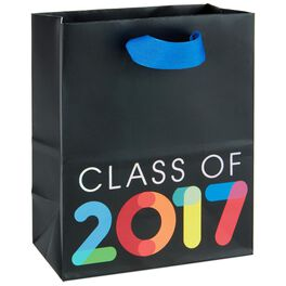 "Multicolor Class of 2017 on Black Small Gift Bag, 6.5"", , large"