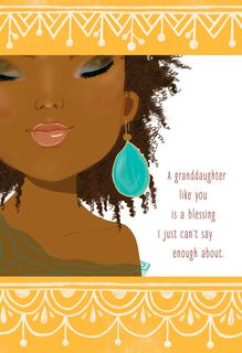 Granddaughter with Earring Birthday Card,