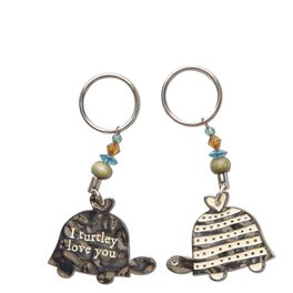 Natural Life Token Keychain Turtle Love, , large
