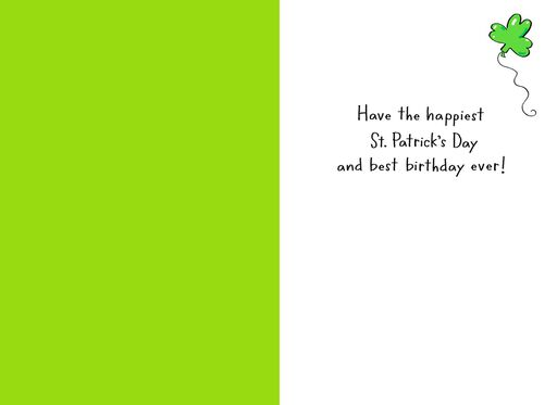 Dog With Balloons St. Patrick's Day Birthday Card,