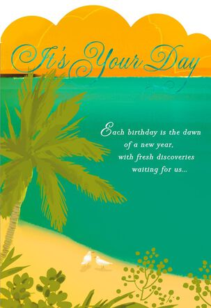 Palm Tree on Beach Birthday Card