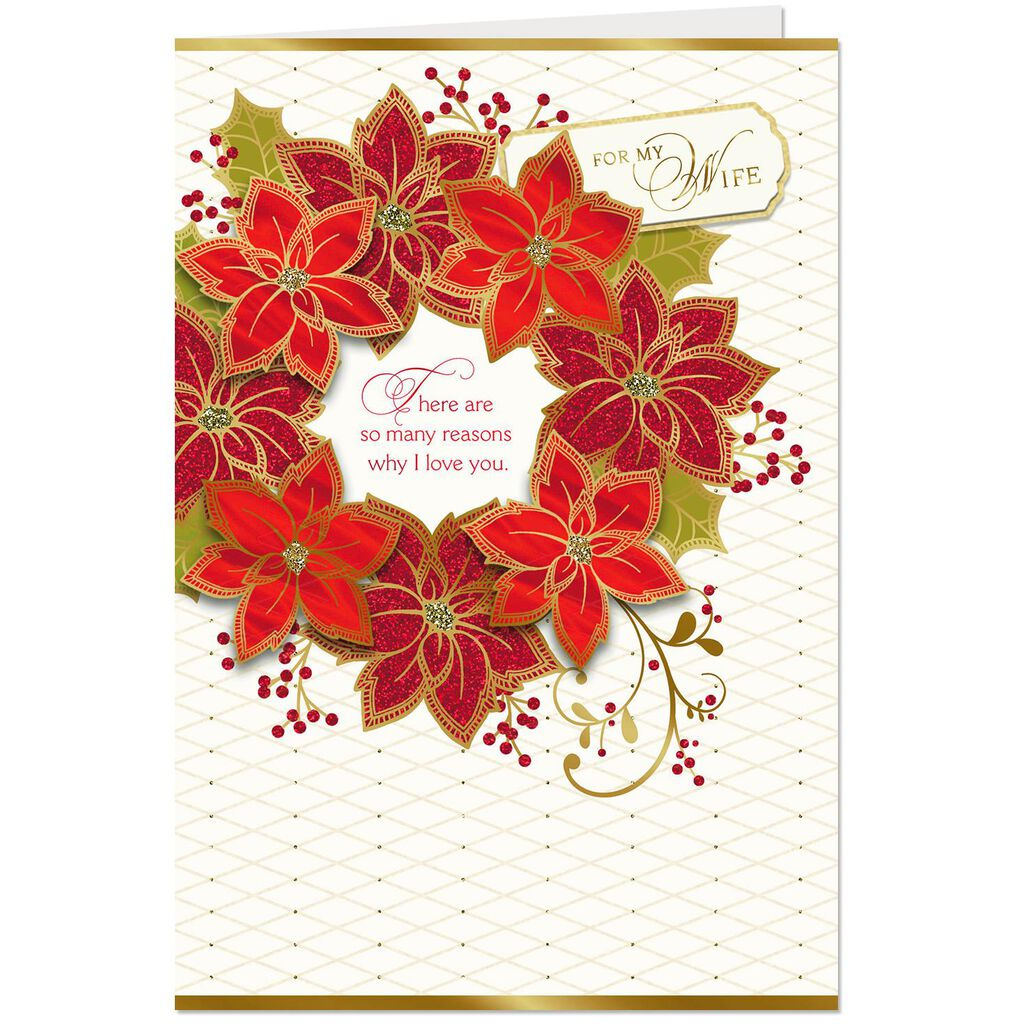Red Poinsettia Wreath Christmas Card For Wife Greeting Cards