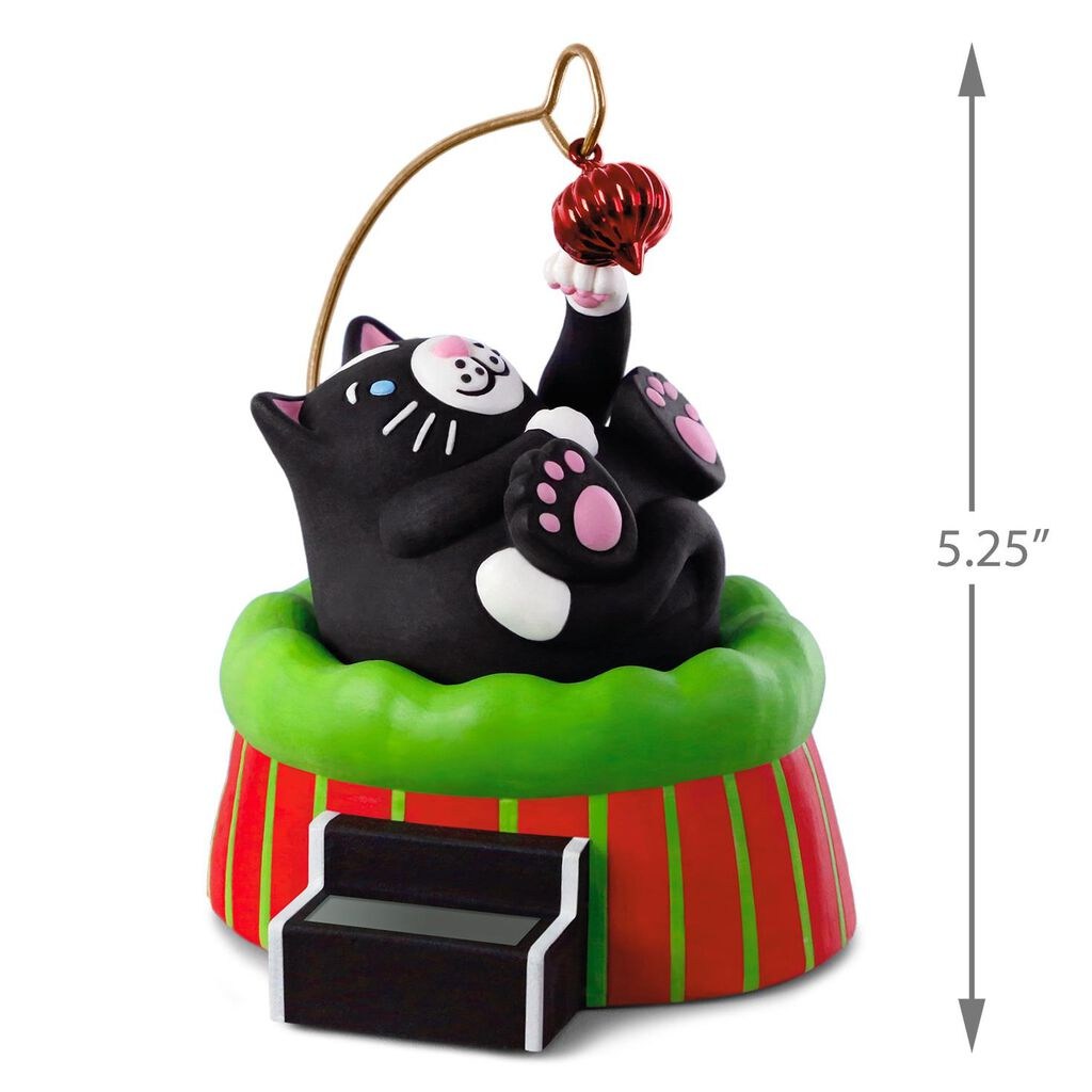 christmas cat solar motion ornament
