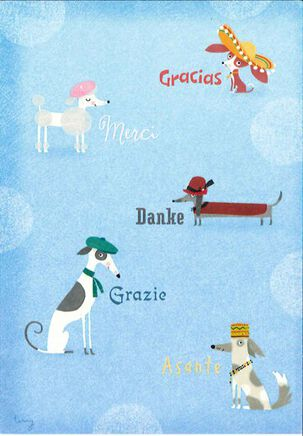 Many Languages Dogs Thank-You Card