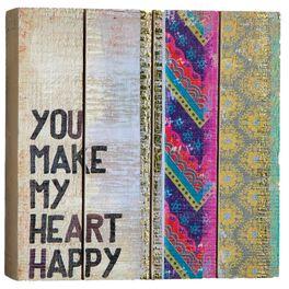"Natural Life ""You Make My Heart Happy"" Slatted Keepsake Sign, , large"