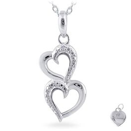 Diamond Accent Connected Double Heart Necklace in Sterling Silver, , large