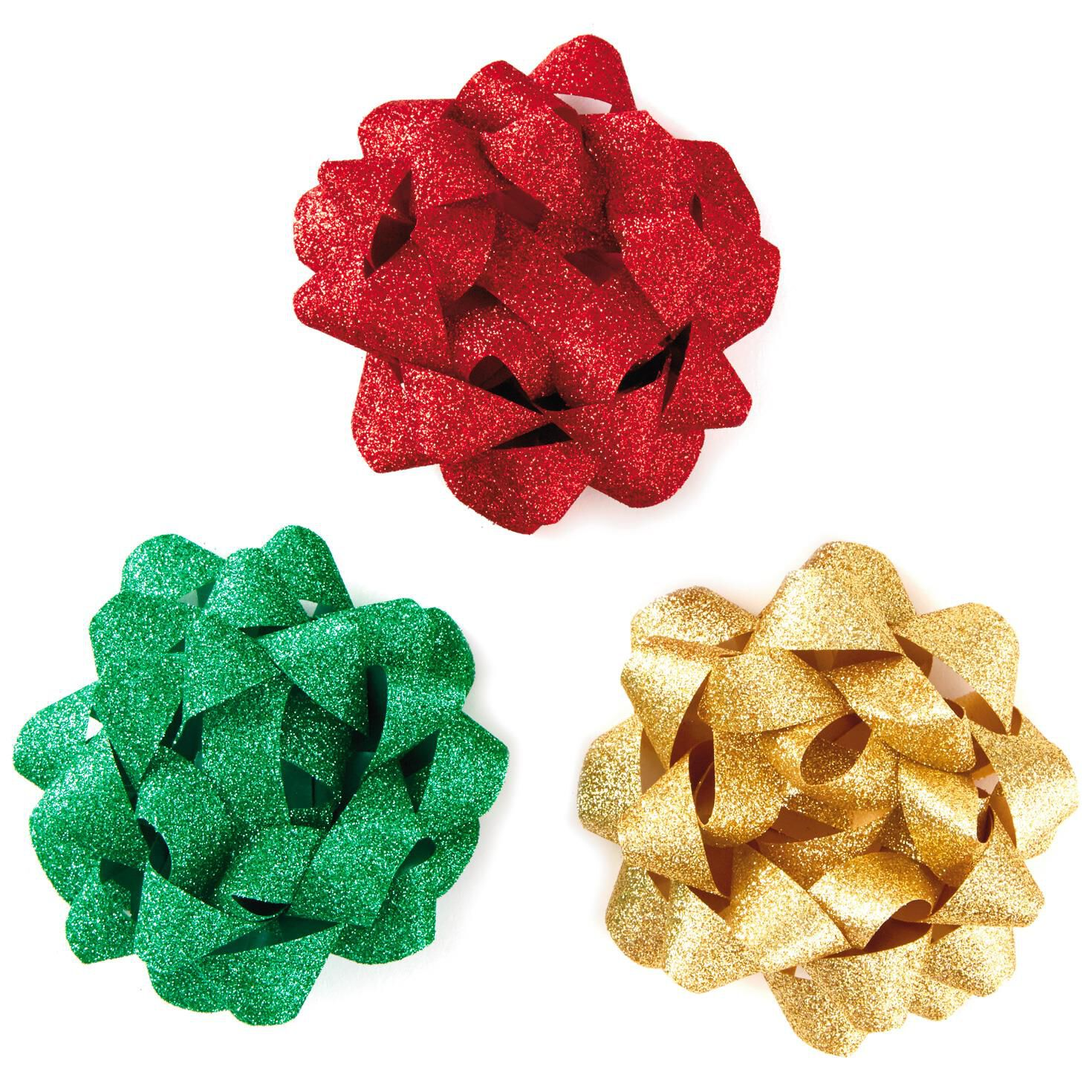 Red green and gold glitter ribbon gift bows pack of 3 bows red green and gold glitter ribbon gift bows pack of 3 bows ribbons hallmark negle Images