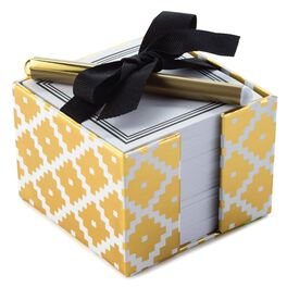 Gold Design Note Caddy with Ribbon & Pen, 650 Sheets, , large