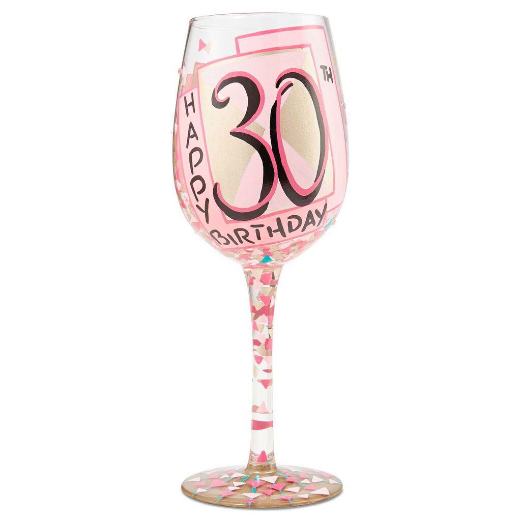 LolitaR 30th Birthday Handpainted Wine Glass 15 Oz