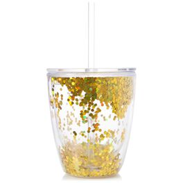 Gold Confetti Double Wall Stemless Wine Glass, 10 oz., , large