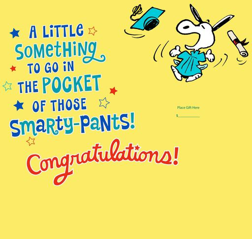 Peanuts® Snoopy Smarty-Pants Graduation Money Holder Card,