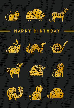 Zodiac Animals Birthday Card