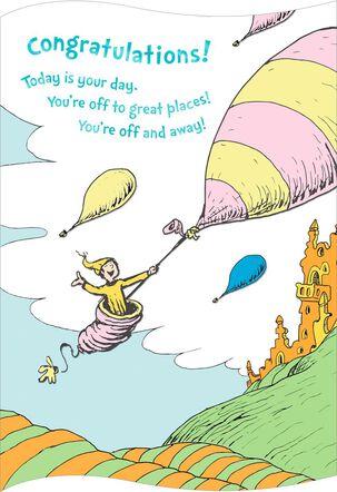 Dr. Seuss Hot Air Balloon Graduation Card