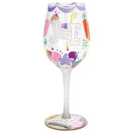 Lolita® June Happy Birthday Handpainted Wine Glass, 15 oz., , large