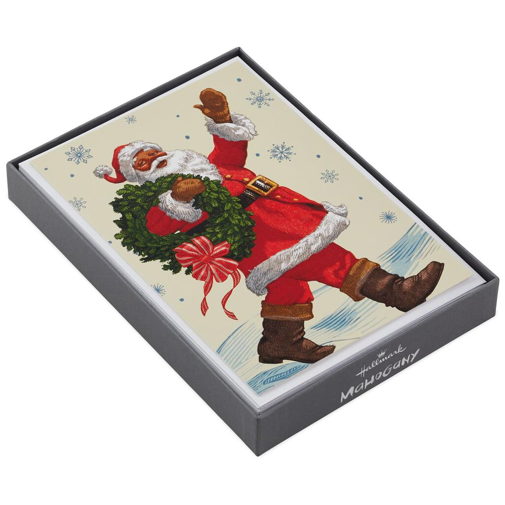 Cheery Santa With Holiday Wreath Christmas Cards, Box of 16 - Boxed ...