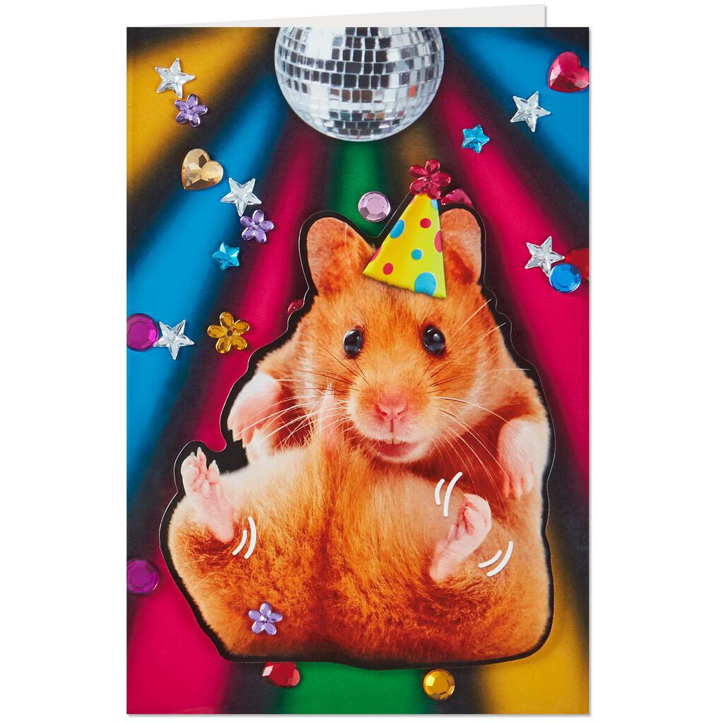 Disco Hamster Musical Birthday Card