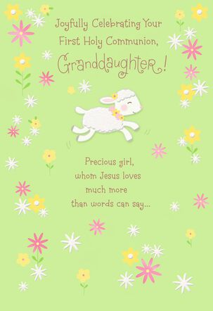 Little Lamb First Holy Communion Card for Granddaughter