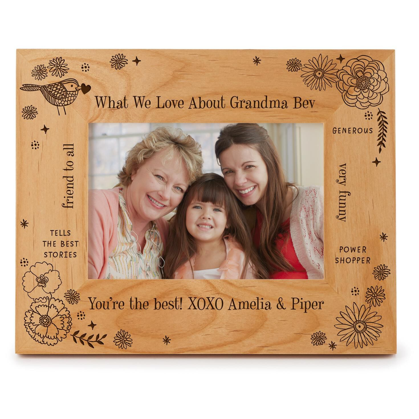Engraved Messages Personalized 4x6 Wood Picture Frame Personalized