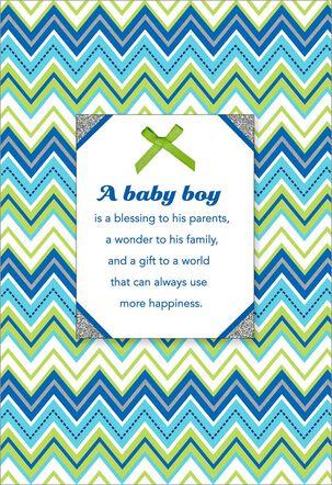 Blue Chevron New Baby Boy Card