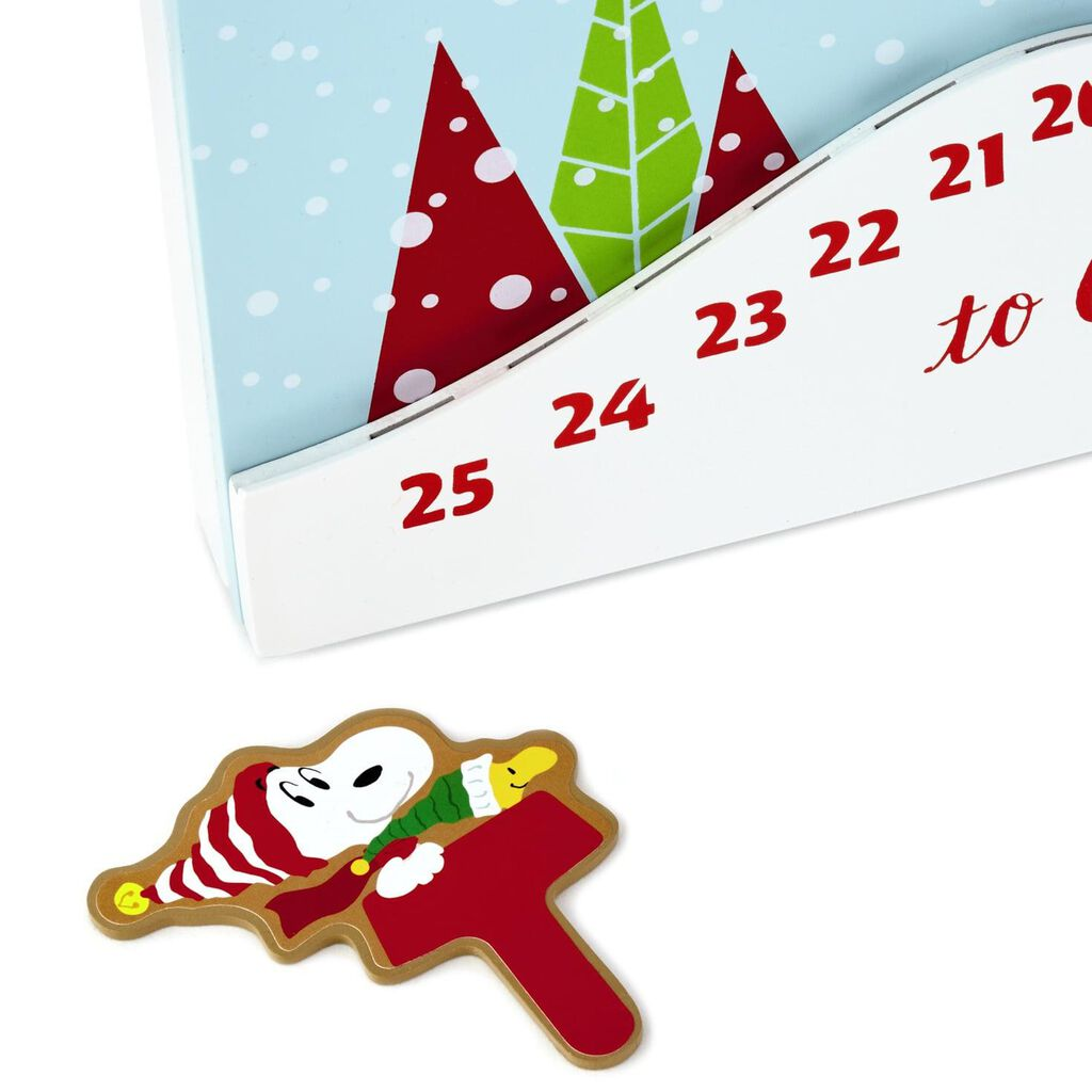 Christmas Countdown Calendar.Peanuts Sledding Snoopy Christmas Countdown Calendar Wood Sign 12x12