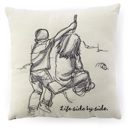 Side By Side Siblings Embroidered 10x10 Pillow, , large