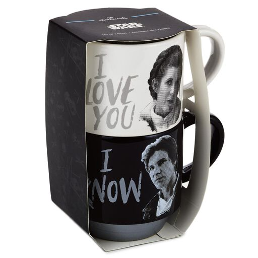 cbafadbcae7 ... Set Star Wars™ Han Solo™ and Princess Leia™ Love You Stacking Mugs, Set