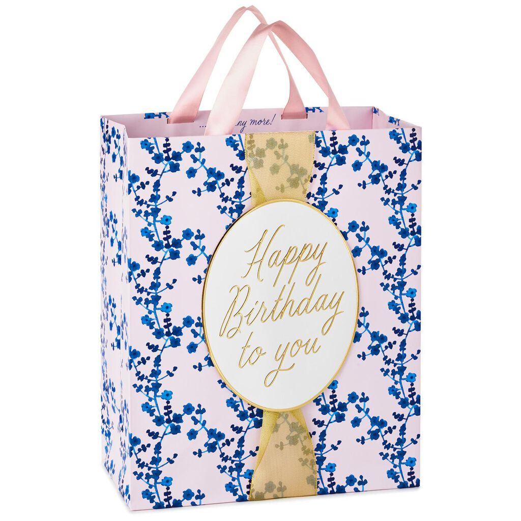 Blue Mini Floral Large Birthday Gift Bag 13