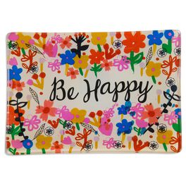 Natural Life Glass Tray Be Happy, Cream, , large