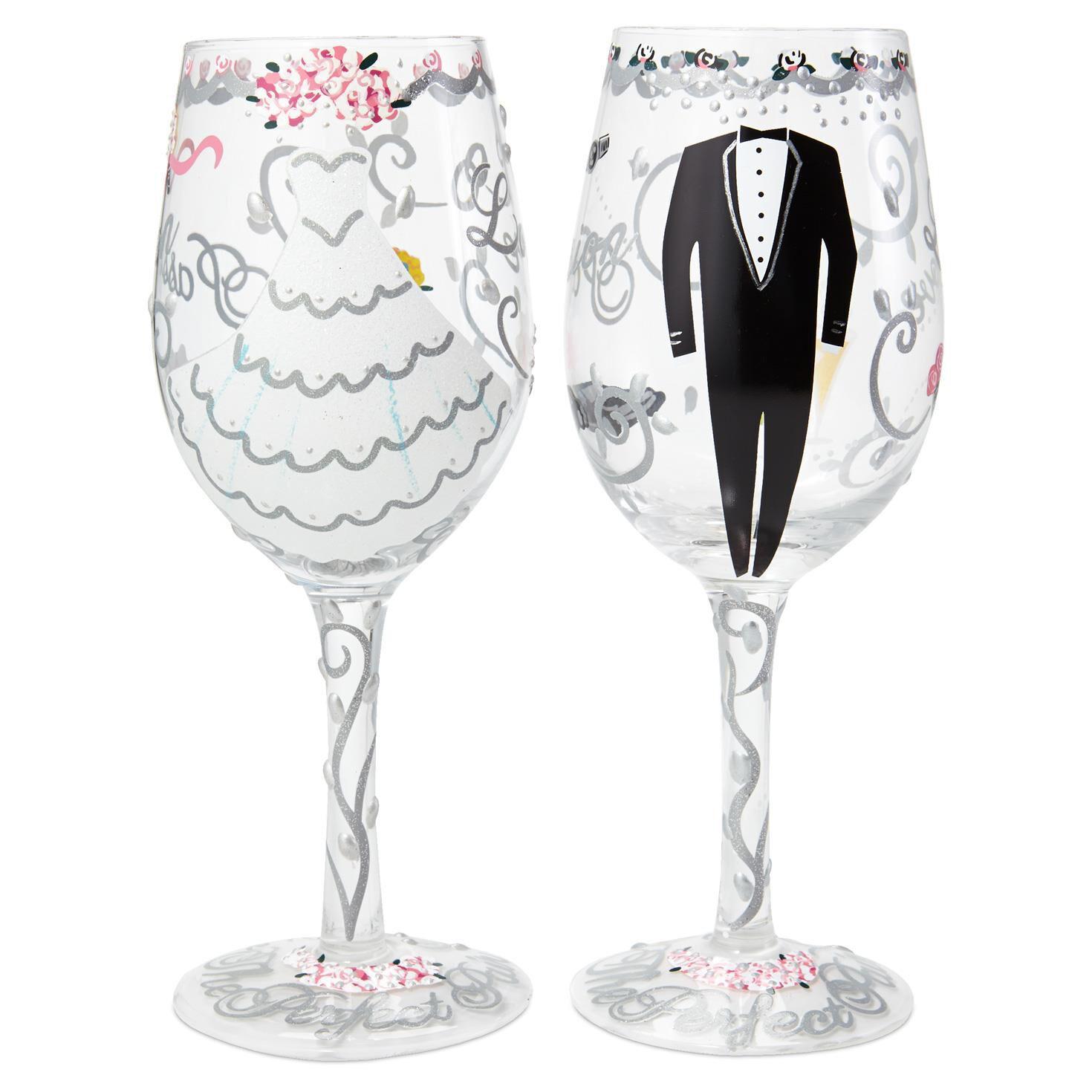 Lolita® Bride & Groom Handpainted Wine Glass Set, 15 oz. Each - Wine ...