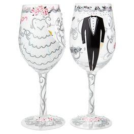 Lolita® Bride & Groom Handpainted Wine Glass Set, 15 oz. Each, , large