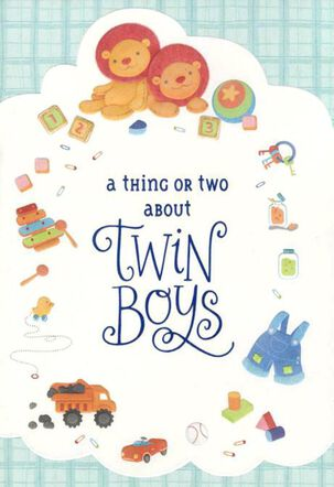 Lion Cubs Twin Boys Congratulations Card