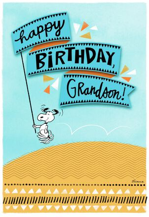 Peanuts® Snoopy All Happy Birthday Card for Grandson