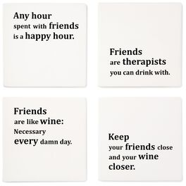 Friends and Wine Coasters, Set of 4, , large