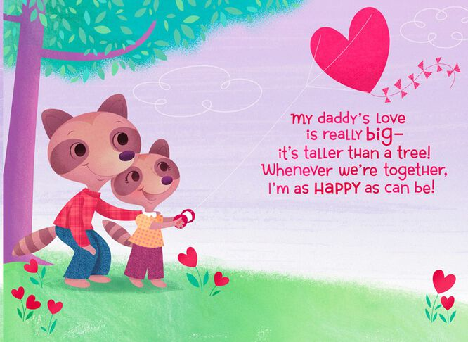 Daddy and Daughter Raccoons Valentines Day Card  Greeting Cards