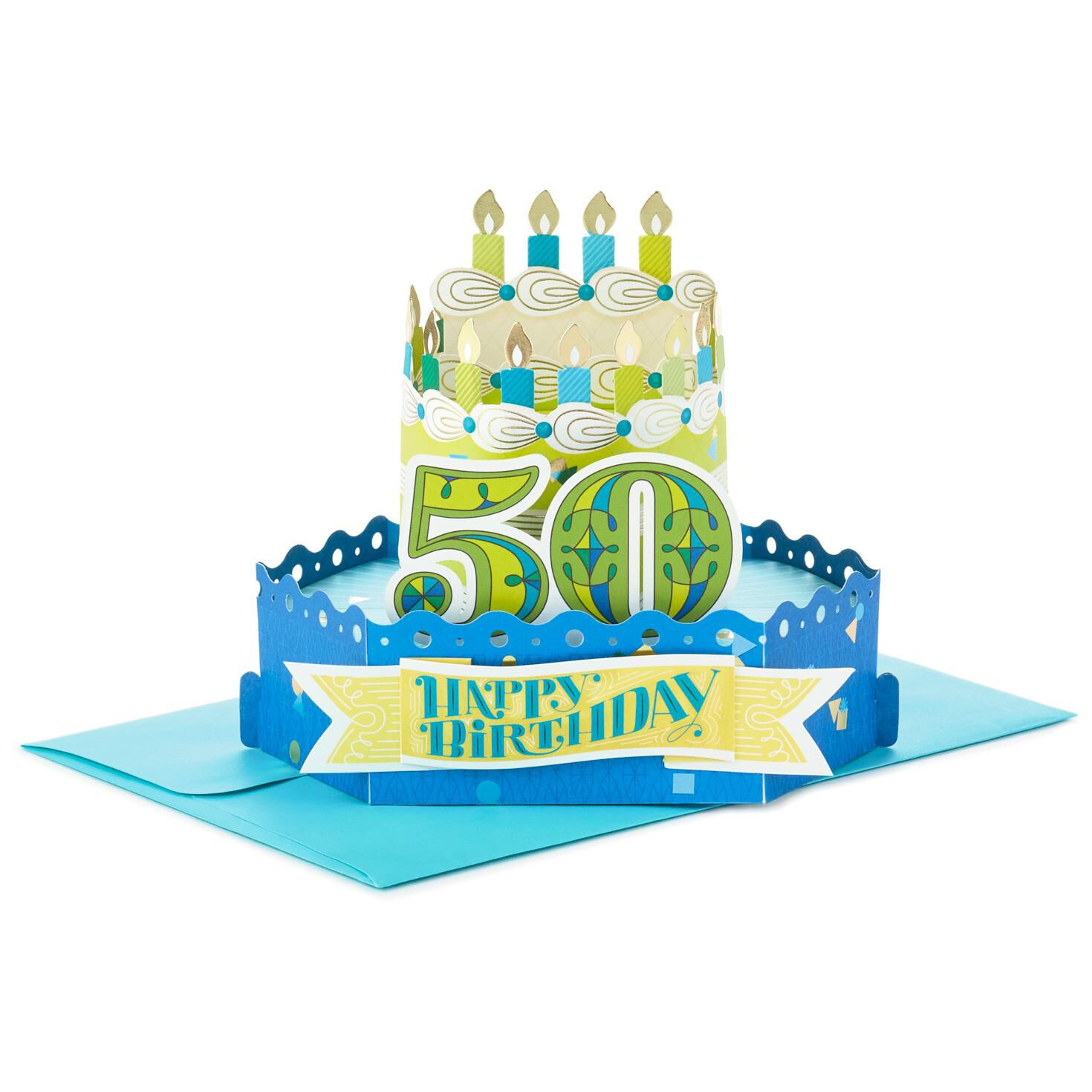 Celebrate With Cake Pop Up 50th Birthday Card Greeting Cards – Pop Up Birthday Cake Card