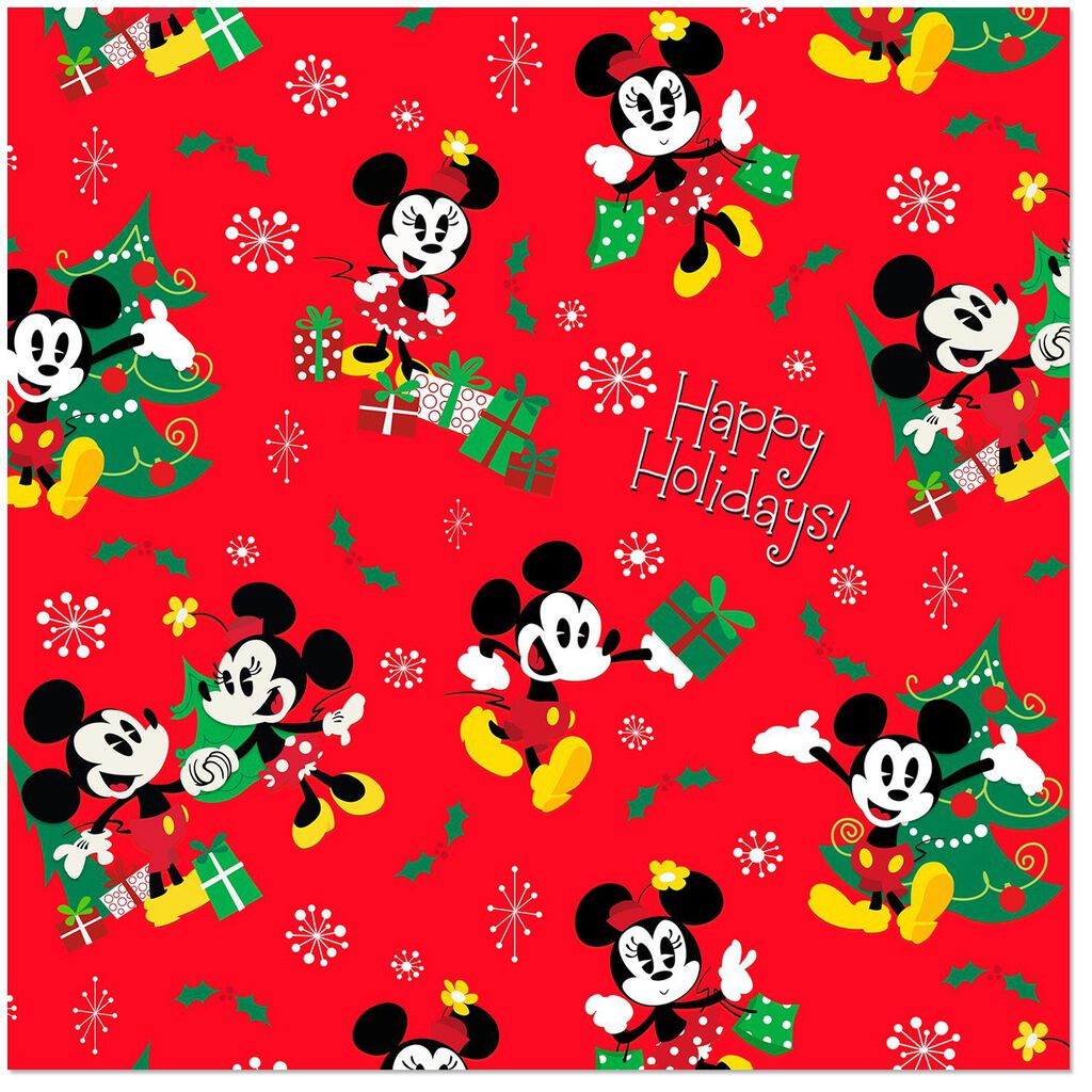 Disney Mickey Mouse and Minnie Mouse Jumbo Wrapping Paper Roll, 80 ...