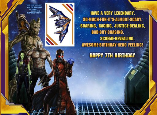 Guardians of the Galaxy 7th Birthday Card With Temporary Tattoo,
