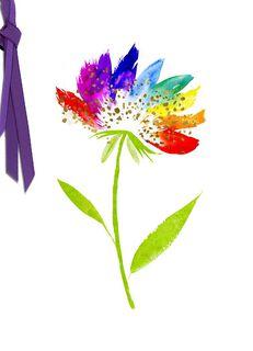 Rainbow Flower Blank Just Because Card,