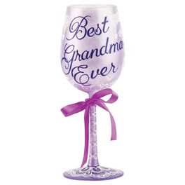 Lolita® Best Grandma Ever Hand-Painted Wine Glass, , large