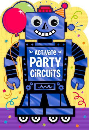 "Robot Party Jumbo Birthday Card, 16.25"""
