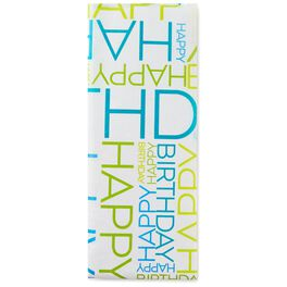 Blue and Green Happy Birthday Tissue Paper, 6 Sheets, , large