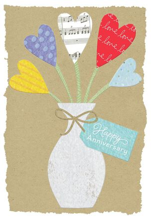 Bouquet of Hearts Anniversary Card