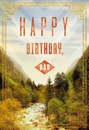 Mountain Stream Scenery Birthday Card for Dad
